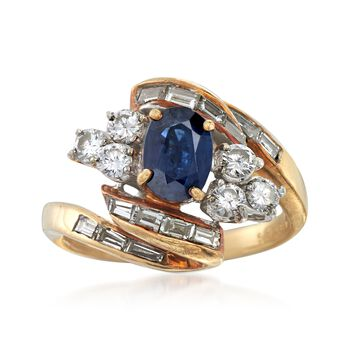 C. 1970 Vintage .80 Carat Sapphire and 1.30 ct. t.w. Diamond Ring in 18kt Yellow Gold. Size 6, , default
