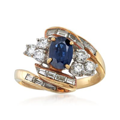 C. 1970 Vintage .80 Carat Sapphire and 1.30 ct. t.w. Diamond Ring in 18kt Yellow Gold, , default
