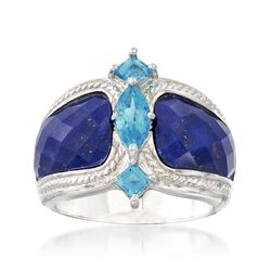 Lapis and 1.10 ct. t.w. Blue Topaz Ring in Sterling Silver, , default