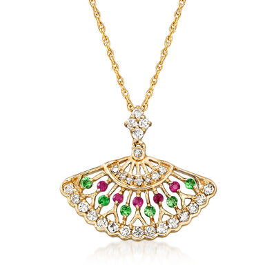 .25 ct. t.w. Diamond Fan Pendant Necklace with Tsavorite and Ruby Accents in 14kt Yellow Gold