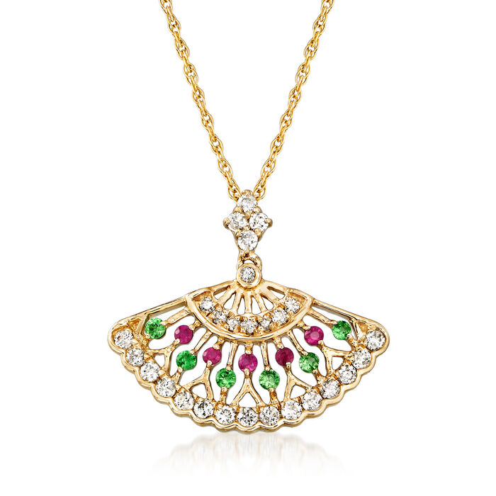 .25 ct. t.w. Diamond Fan Pendant Necklace with Tsavorite and Ruby Accents in 14kt Yellow Gold, , default