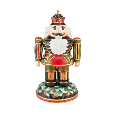 Fitz and Floyd Holiday Pine Cone Nutcracker Figurine, , default