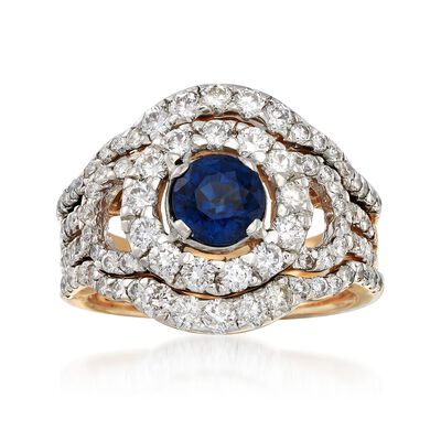 C. 1980 Vintage 1.00 Carat Sapphire and 2.00 ct. t.w. Diamond Round Frame Ring in 14kt Yellow Gold, , default