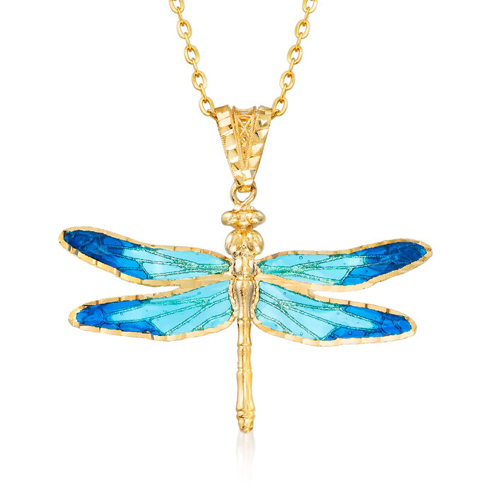 Italian Blue Enamel and 18kt Yellow Gold Dragonfly Pendant Necklace