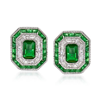 Simulated Emerald and .50 ct. t.w. CZ Stud Earrings in Sterling Silver