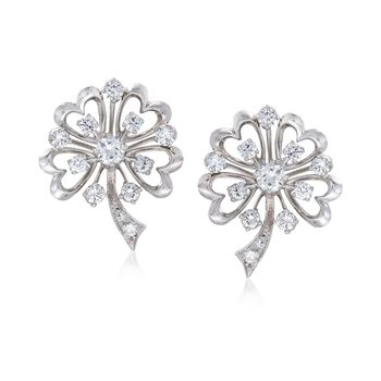 C. 1960 Vintage 1.30 ct. t.w. Diamond Clover Earrings in Platinum , , default