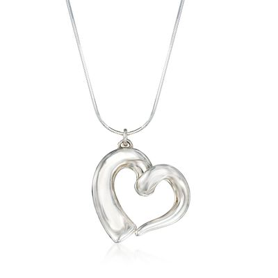 Sterling Silver Open-Space Heart Necklace, , default