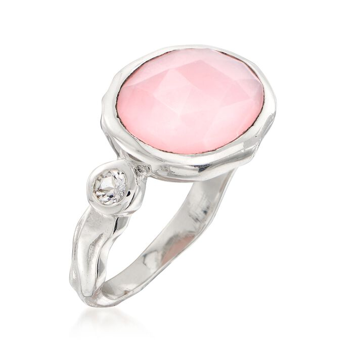 Pink Opal and .20 ct. t.w. White Topaz Ring in Sterling Silver