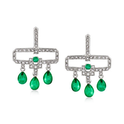C. 1990 Vintage 6.20 ct. t.w. Emerald and 1.00 ct. t.w. Diamond Drop Earrings in 18kt White Gold