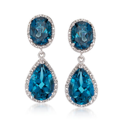 11.00 ct. t.w. London Blue Topaz and .14 ct. t.w. Diamond Drop Earrings in Sterling Silver, , default