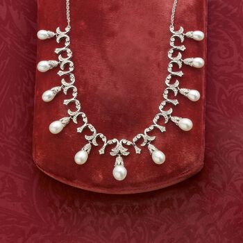 6-9mm Cultured Pearl and .20 ct. t.w. Diamond Necklace in Sterling Silver