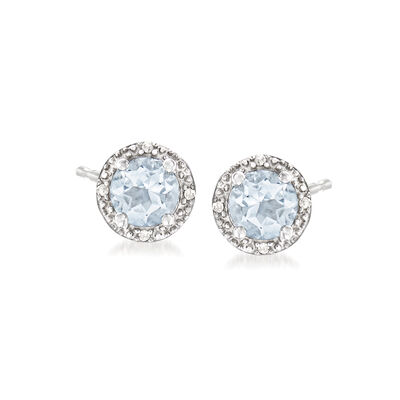 .80 ct. t.w. Round Aquamarine Stud Earrings with Diamond Accents in Sterling Silver