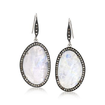 Rose-Cut Moonstone and .98 ct. t.w. Champagne Diamond Drop Earrings in Sterling Silver, , default