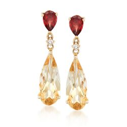 5.00 ct. t.w. Citrine and 1.00 ct. t.w. Garnet Drop Earrings With Diamond Accents in 14kt Yellow Gold, , default