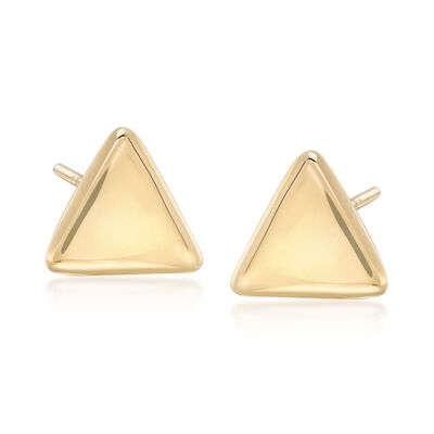 14kt Yellow Gold Triangle Stud Earrings, , default