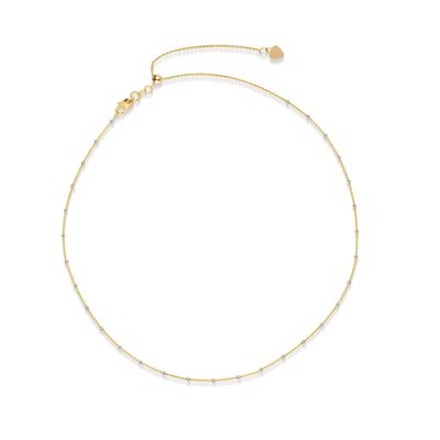 14kt Two-Tone Gold Bead Station Choker Necklace, , default