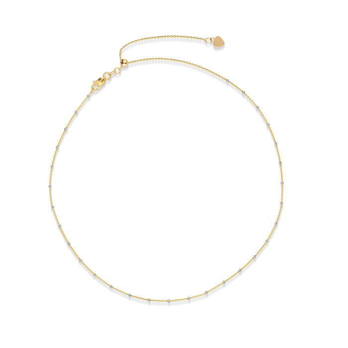 14kt Two-Tone Gold Bead Station Choker Necklace , , default