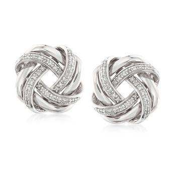 .20 ct. t.w. Diamond Love Knot Earrings in Sterling Silver, , default