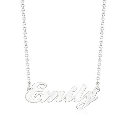Personalized Script Name Necklace in Sterling Silver, , default
