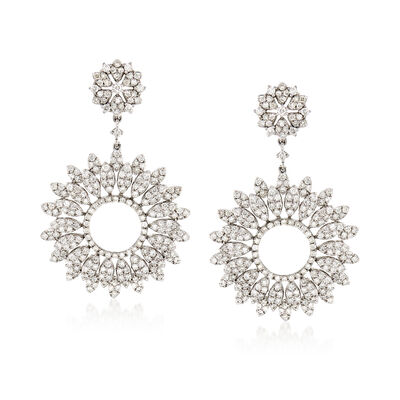 3.90 ct. t.w. Diamond Floral Drop Earrings in 18kt White Gold