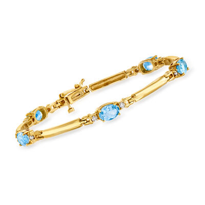 C. 1990 Vintage 3.50 ct. t.w. Aquamarine and .30 ct. t.w. Diamond Bracelet in 14kt Yellow Gold
