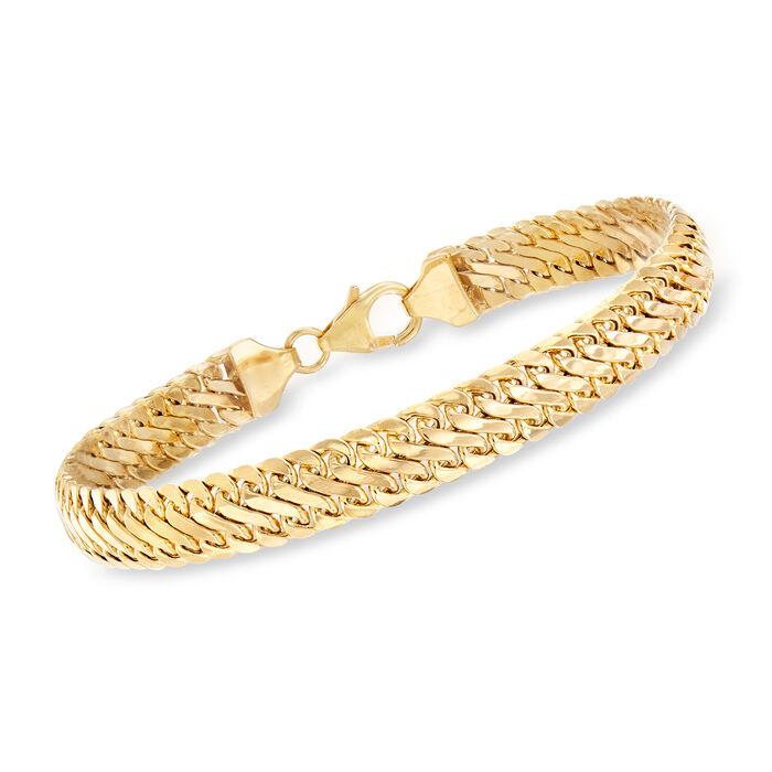 "Italian 14kt Yellow Gold Woven-Link Bracelet. 7"""