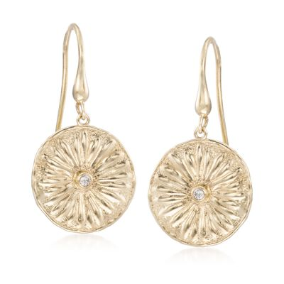14kt Yellow Gold Floral Disc Drop Earrings With Diamond Accents, , default