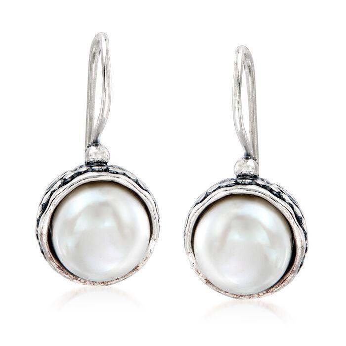 9.5-10mm Cultured Pearl Drop Earrings in Sterling Silver