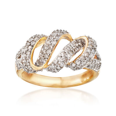 1.00 ct. t.w. Diamond Wave Ring in 14kt Yellow Gold, , default