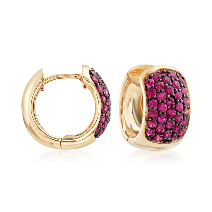1.20 ct. t.w. Ruby Hoop Earrings in 14kt Yellow Gold with Black Rhodium. 1/2, , default