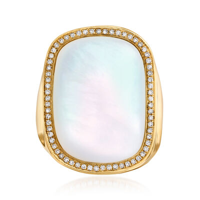 Mother-Of-Pearl and .19 ct. t.w. Diamond Ring in 14kt Yellow Gold