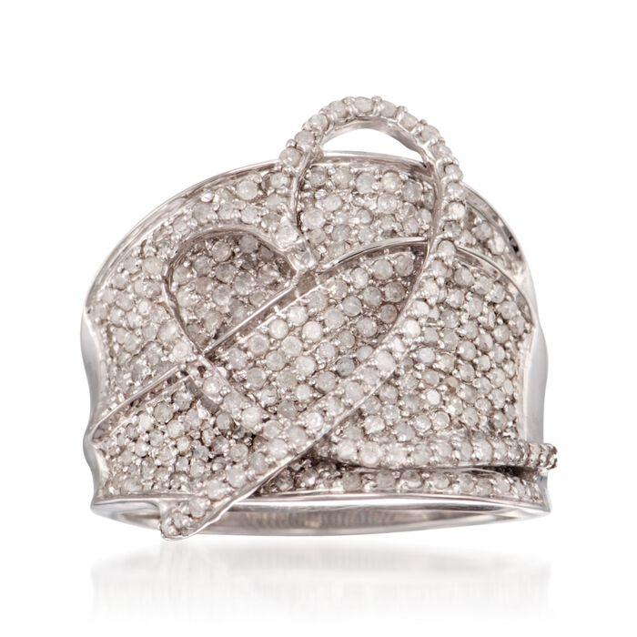 1.40 ct. t.w. Diamond Heart Ring in Sterling Silver, , default
