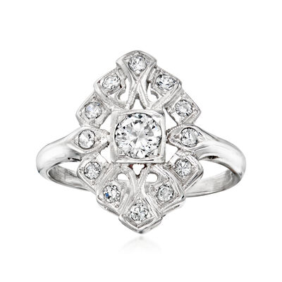 C. 1950 Vintage .65 ct. t.w. Diamond Ring in 14kt White Gold
