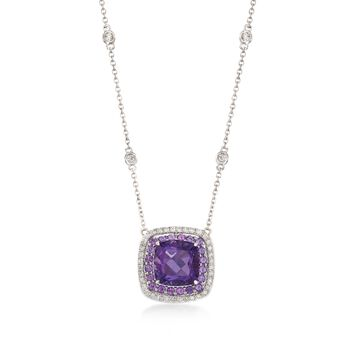 """Gregg Ruth 3.20 ct. t.w. Amethyst and .27 ct. t.w. Diamond Necklace in 18kt White Gold. 18"""", , default"""