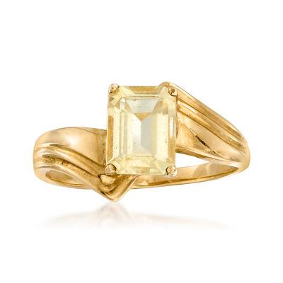 C. 1980 Vintage 1.10 Carat Citrine Ring in 10kt Yellow Gold