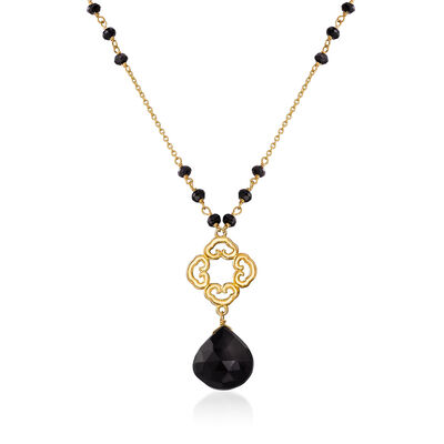 12.50 ct. t.w. Black Spinel Station Drop Necklace in 18kt Gold Over Sterling