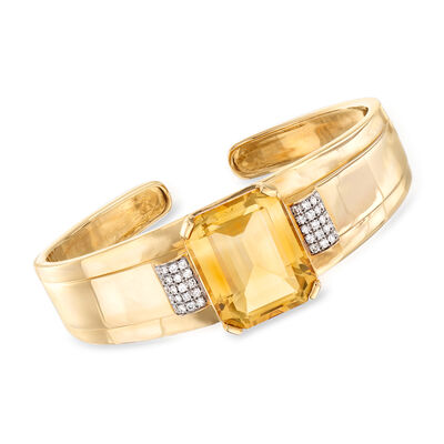 30.00 Carat Citrine and .58 ct. t.w. Diamond Bangle Bracelet in 14kt Yellow Gold
