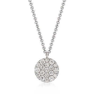Gabriel Designs .48 ct. t.w. Pave Diamond Disc Necklace in 14kt White Gold