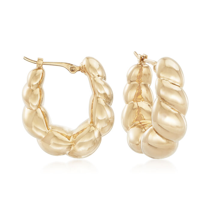 14kt Yellow Gold Twisted Hoop Earrings. 3/4""