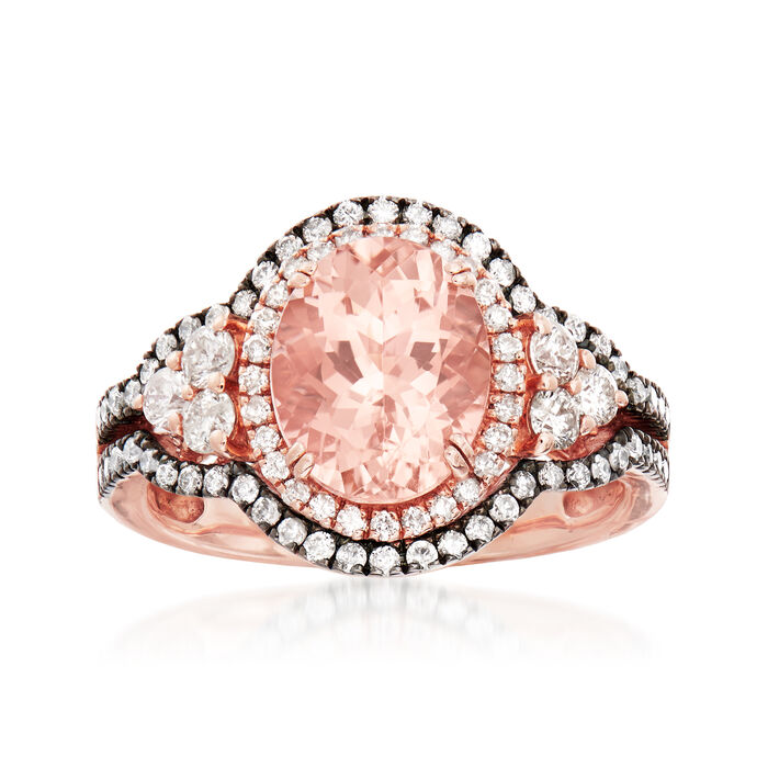 2.80 Carat Morganite and .85 ct. t.w. Diamond Ring in 14kt Rose Gold