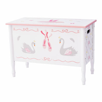 Child's Swan Lake Wooden Toy Chest, , default