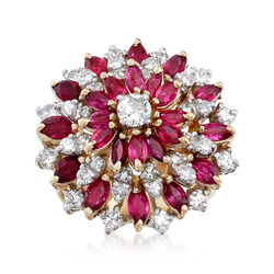 C. 1960 Vintage 2.75 ct. t.w. Ruby and 1.50 ct. t.w. Diamond Cluster Ring in 14kt Yellow Gold. Size 8, , default