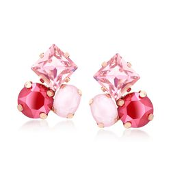 Italian 18kt Rose Gold Over Sterling Earrings With Pink and Red Swarovski Crystals, , default