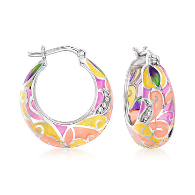 Multicolored Enamel Hoop Earrings with White Topaz Accents in Sterling Silver, , default