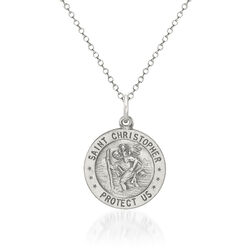 "Sterling Silver Antiqued St. Christopher Baseball Medal Necklace. 18"", , default"