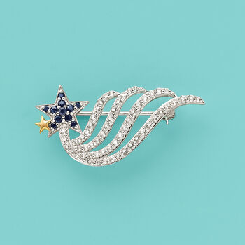 1.80 ct. t.w. White Topaz and .30 ct. t.w. Sapphire Shooting Star Pin in Sterling Silver