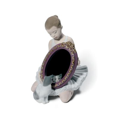 "Lladro ""A Purr-Fect Reflection"" Porcelain Figurine, , default"