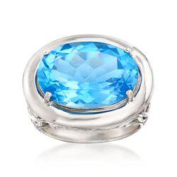 18.00 Carat Blue Topaz Ring in Sterling Silver, , default