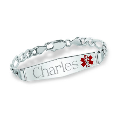 Men's Sterling Silver Medical Alert Figaro-Link Bracelet with Enamel, , default