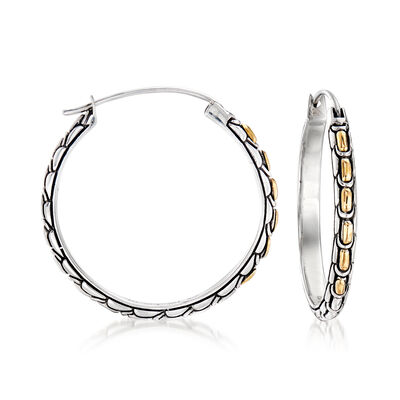 Sterling Silver with 18kt Yellow Gold Bali-Style Hoop Earrings
